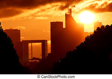 La Defense, Paris - Sunset or Sunrise over La defense, Paris...