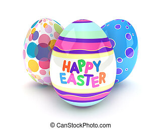 Easter Eggs - 3D Illustration of Easter Eggs with Easter...