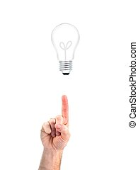 Light Bulb - A light bulb and a hand isolated against a...