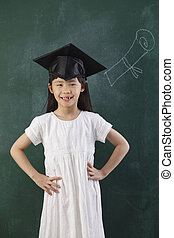 girl wearing mortar board - girl with mortar board stand in...