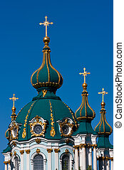 Domes of the Andreevsky cathedral in Kiev close up