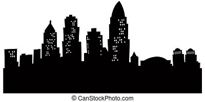 Cartoon Cincinnati Skyline - Cartoon skyline silhouette of...