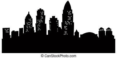 Cartoon Cincinnati Skyline - Cartoon skyline silhouette of...