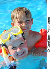 Two Boys in Pool
