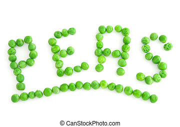 Peas - The word PEAS made of green peas
