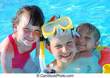 feliz, joven, Nadadores