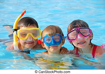 appy divers - A colorful image of three young children...