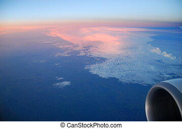 Sunset From Above - View of clouds at sunset from an...