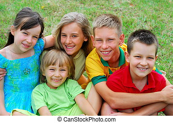 Happy Children Portrait - Portrait of five smiling children...