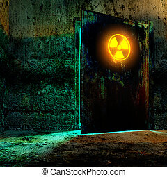 radiation danger zone - Danger room in old underground...
