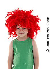 funny looking small kid wearing a red feather wig over white
