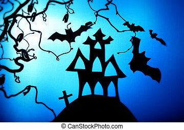 Halloween night with bat and house