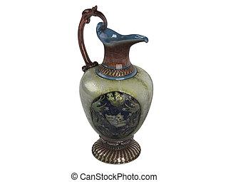Asian jug isolated on white background