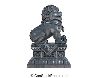 Asian lion statuette isolated on white background