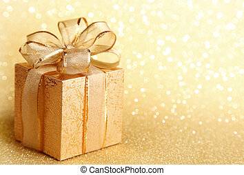 Christmas gift box on yellow background