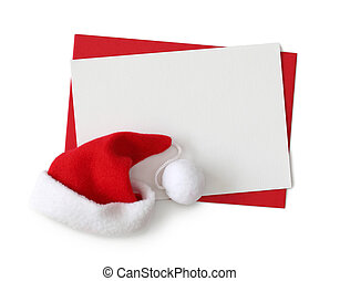 Red paper envelope with white card and santa hat isolated on...