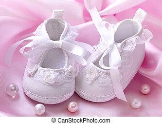 feito à mão, branca, bebê, booties