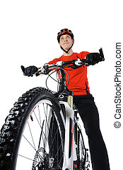 portrait of a bicyclist Isolated on a white background