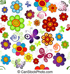 Rainbow floral seamless pattern