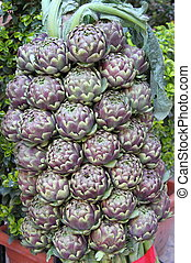 Fresh artichokes - A composition of fresh artichokes