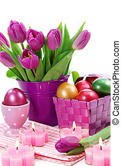 Purple tulips in bucket and easter