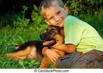 男孩, 擁抱, 他的, 狗