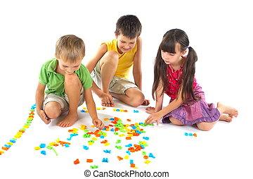 letras, crianças, tocando