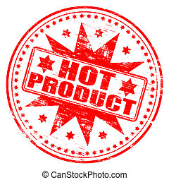 Hot Product Stamp - Rubber stamp illustration showing HOT...