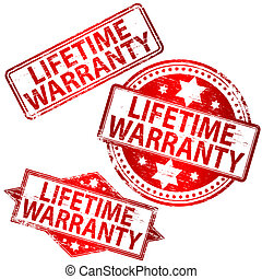Lifetime Warranty Stamp - Rubber stamp illustrations showing...