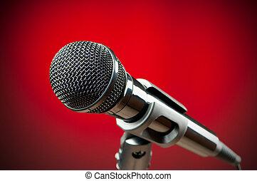 áudio, microfone, contra, fundo