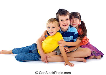 Happy Children Portrait - Portrait of three smiling...