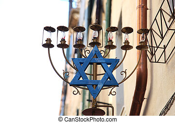 Star of David with a lamp - a Star of David with a lamp
