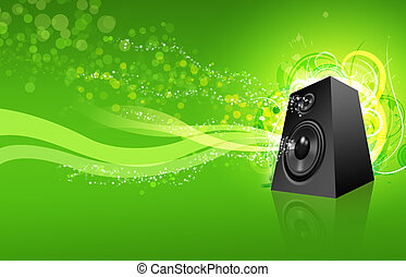 Speaker / Loudspeaker - XL - Loudspeaker on green urban...