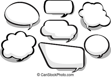 Chat Bubbles - Black and white chat bubbles in a variety of...