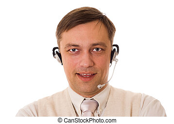businessman with headset talking on a white background