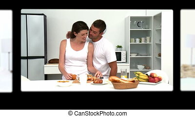 Montage of lovely couples sharing good moments at home