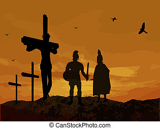 Crucifixion of Jesus Christ with warriors silhouette during...