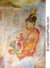 Sigiriya Fresco - Sigiriya maiden with flowers: one of the...