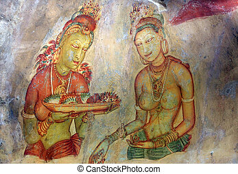 Sigiriya Fresco - Two Sigiriya maiden with flowers: one of...