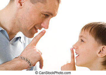Father confer with his son on a white background
