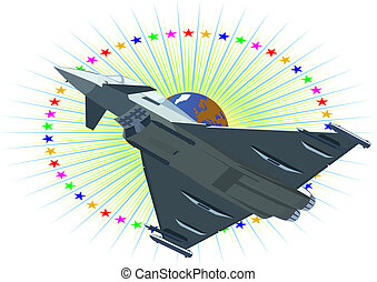 Jet fighter - Modern military aircraft against a background...
