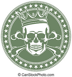 Emblem with  skull and  crown