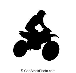 Silhouette of motocross rider - Black silhouette of...