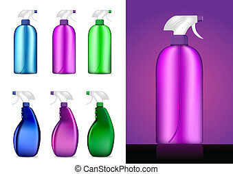 Colorful Spray bottles vector illustrations
