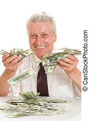 elderly man holding money on white background