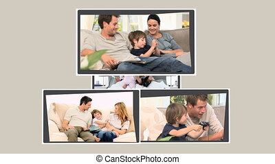 Montage of joyful families