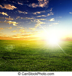 nature landscape and the sunset - nature landscape and...