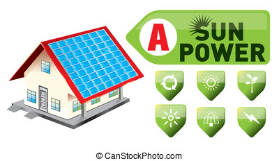 sun power and power icon set