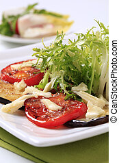 Vegetarian appetizer - Baked aubergine and tomato with salad...
