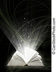 Magic book - Vertical background of black color with magic...